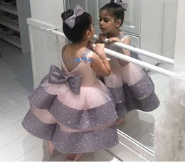Sparkling Tulle Wedding Dress Australia - Sparkling Flowers Girls Dresses Sequined Big Bow Toddlers Tulle Princess Kids Pageant Prom Gowns For Wedding Evening Party Dress