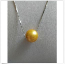 China hot 11mm natural south sea gold pearl pendant necklace 18inch silver chain c supplier gold c necklace suppliers