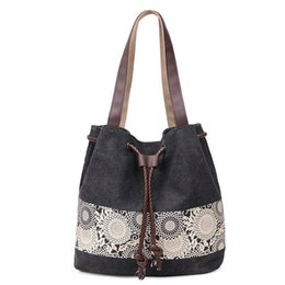 large canvas floral tote bags NZ - Women Canvas Handbag Flower Printed Shoulder Handbag Female Large Capacity Ladies Beach Bag Women Canvas Tote Large Capacity Bag