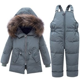 Wholesale 2019 Winter Baby Boy Clothing Set Sport Children Warm Fur Duck Down Jacket Baby Snowsuit Ski suit Kids Outerwear Coat Trousers