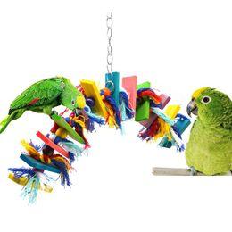 Bird Climbing Toys NZ - parrot Parrot Pet Climb Bites Chew Bird Toys Colorful Wooden Block Swing Hanging Cage Bird Accessories
