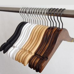 kids wooden clothes hanger Australia - 26cm Natural Wood Baby Children Kids Clothes Hanger with Dress Nothches Black White wood Retro color Optional LX2138