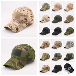 military hat wholesale Canada - Military camouflage Baseball Cap with magical sticker Army Outdoor Sports Tactical hat Camp sunshade Cap LJJA3658-12