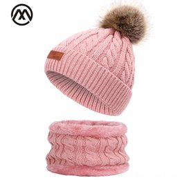 knitted childrens spring hats UK - New Childrens Pompom Hat Scarf Cute Boy Hats & Caps Hats, Scarves & Gloves Girl Outdoor Warm Bean Collar Plus Velvet Thick Knit Hat Baby He