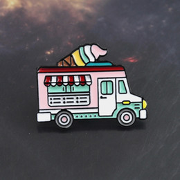 trucks pin NZ - Ice cream truck pink color enamel pin Sweet ice candy cream car brooch sweater Denim lapel badge Romantic couple gift