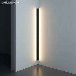 LED moderne d'angle mur Lampe Minimaliste Intérieur Luminaire Appliques Escalier 100cm 150cm Chambre chevet Accueil Hall d'entrée Lumière en Solde