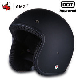 $enCountryForm.capitalKeyWord NZ - AMZ Motorcycle Helmet Vintage Retro Half Face Moto Helmet Casco Casque Old School Casco Scooter Helmets With Inner Sun Visor DOT