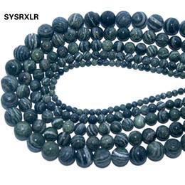7f61cad948e3 Venta al por mayor de piedra natural verde cebra granos flojos redondos para  la fabricación de joyas bricolaje collar pulsera material 4 6 8 10 12 mm ...