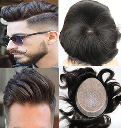 $enCountryForm.capitalKeyWord NZ - Men Hair Wig Full Silk Base Toupee Straight Full Silk Top Toupee Brown Black #1b European Virgin Human Hair Replacement for Black Men