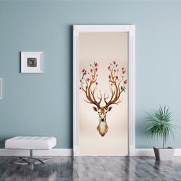 $enCountryForm.capitalKeyWord Australia - 3D Effect 2pcs set European Style Deer head Photo Wall Mural Door Sticker Living Room Bedroom PVC Self-Adhesive Waterproof Wallpaper