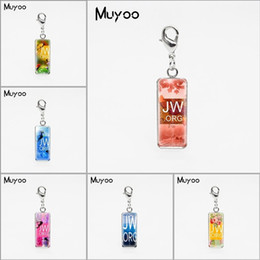 Charm Pictures NZ - Silver Colors Flower JW.ORG Square Glass Dome Charm Pendants Jehovah Pictures Stainless Steel Pendant Christian Gifts Jewelry