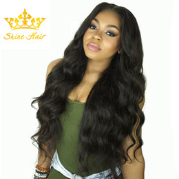 $enCountryForm.capitalKeyWord Australia - Shine Hair 8-26 Inch Indian Lace Front Natural Black Body Wave Hair Wigs Brazilian Human Virgin Lace Front Wig