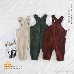 $enCountryForm.capitalKeyWord Australia - INS Toddler Kids Boys Jumpsuits Overalls Blet Rompers Cotton Front Buttons Pocket Designs Spring Autumn Children Girls Boys Suspender