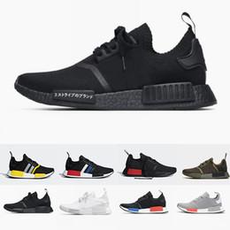 Apple red shoes online shopping - 2019 Japan Black Runner R1 Primeknit Triple White grey nmds designer Running shoes red apple oreo For Men Women Runner nmd Sports sneakers