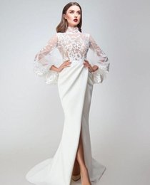 $enCountryForm.capitalKeyWord Australia - Sexy Slit Front Mermaid Prom Dresses Long Sleeve New 2019 High Neck Illusion See Through 3D Lace Applique Trumpet Evening Gowns Sweep train