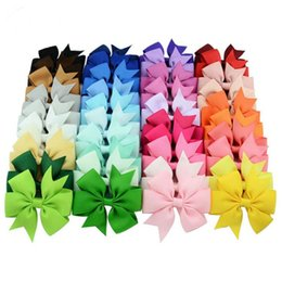 bow ribbon for gift Canada - 3.15'' Ribbon Hair Bows with Clip Solid Color Fishtail Design Infant Baby Girls Hair Accessories for Children Kids Fashion Hairpin Head Wear