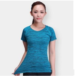 Dry ice clothing online shopping - A443 Summer Quick Dry Ice Shirt Dyed Workout Clothes Top Outdoor Perspiration Running T shirt Sports Yoga Short Sleeved Women s