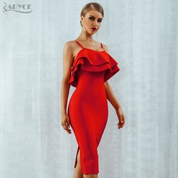 $enCountryForm.capitalKeyWord Australia - Women Bodycon Summer Bandage Dress 2019 Red Spaghetti Strap Vestidos Strapless Ruffles Midi Celebrity Evening Party Dress