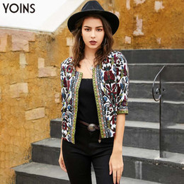 ladies floral print jackets NZ - YOINS Bohemian Floral Print Open Front Half Sleeve Coats 2019 Women Vintage Jackets Casual Ladies Top Spring Autumn Femme