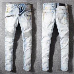 $enCountryForm.capitalKeyWord Australia - Famous Designer Jeans Light Blue Classi Straight Fit Biker Casual Trousers Cowboy Famous Brand Zipper Designer Hot Sale Jeans Size 29-40