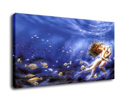 $enCountryForm.capitalKeyWord UK - Fantasy Art Deep Seabed Kiss,Oil Painting Reproduction High Quality Giclee Print on Canvas Modern Home Art Decor
