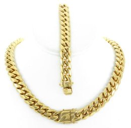 $enCountryForm.capitalKeyWord Australia - 14mm Miami Cuban Link Bracelet 8'' & Chain 18'' 18k Gold Plated Stainless Steel