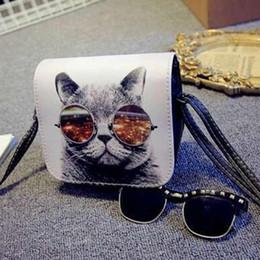 230a984b18 Cheap FashionNEW PU Leather Cat Wearing Big Glasses Print Shoulder Handbags  Bag Bolsa Bolsos Carteras Mujer Marca