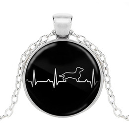 Discount fashion dog glasses 2019 Black Simple Fashion Necklace Electrocardiogram Animal Glass Pendant Necklace Cute Dog Jewelry