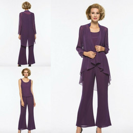 $enCountryForm.capitalKeyWord Australia - 2019 Purple Mother Of The Bride Dresses With Jacket Chiffon Long Sleeve Wedding Guest Dress Pant Suits Plus Size Prom Gowns