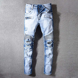 $enCountryForm.capitalKeyWord Australia - Fashion Streetwear Men Moto Jeans Spliced Designer Light Blue Ripped Robin Jeans For Men Hip Hop Pants Slim Fit Biker Jeans Homme 29-42