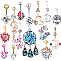 Gold Belly Dance Chains Australia - JUNLOWPY 1pcs 14 Woman Dangle Belly Button Rings Stainless Steel Navel Piercing Jewelry Dance Belly ombligo Body Nombril Kit
