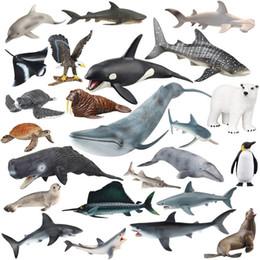 Minecraft Toys NZ - Original Genuine Series 20pcs Sealife Family Animals Unicorn Whale Jaw Shark Tiger Shark Killer Humpback Whale Kids Toy Gift Y190604