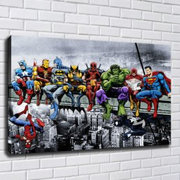12 marvel figure NZ - MARVEL SUPERHEROES ON A BEAM Canvas Painting Print Pictures for Living Room Home Decor Abstract Wall Art Oil Painting Poster