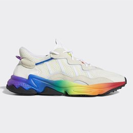 wide running shoes for women Australia - Running Shoes Pride Ozweego For Mens Women Halloween Tones Cloud White Solar Yellow Bold Orange Triple black Trainer Sports Sneakers 36-45