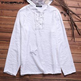 long sleeve men lace shirts Australia - Nepal Beach Retro Men's Shirts Cotton Long Sleeve Lace Up Print Neck Spring Autumn Casual Loose Men Tops Camisa MasculinaMX190828