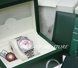 movement watch box NZ - Luxury NEW Factory 2813 Automatic Movement 36MM WOMENS WG PINK FLOWER ARA DATE JUST #116244 with original box Diving Watch