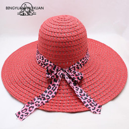 women bow hats Australia - BING YUAN HAO XUAN Summer Sun Hats for Women Large with Ribbons Bow Beach Hat Cap Ladies Sun Hat UV Protect Chapeu Feminino