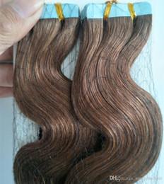40pcs / 100G 14 16 18 20 22 24 26 pouces colle bande de trame PU bande dans les extensions de cheveux humains Remy indien cheveux livraison rapide prix usine en Solde