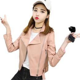 $enCountryForm.capitalKeyWord Australia - Nice Spring Autumn Pop Korean Students Faux Leather PU Jacket Women Fashion Slim Slim Motorcycle Lapel Short Leather Jacket