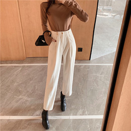 Wholesale white slim harem pants for sale – dress New Women s Harem Pants Spring Corduroy High Waist Pants Casual Pants Vintage Slim Trousers Female