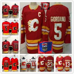 400f98c358d Calgary Flames 2019 Red Third Vintage Jersey # 13 Johnny Gaudreau 23 Sean  Monahan 5 Mark Giordano 68 Jaromir Jagr Capitán Patch Hockey blanco