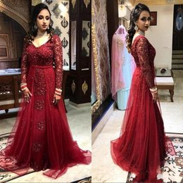 $enCountryForm.capitalKeyWord Australia - Vintage Burgundy Glittering Sequins Formal Evening Gowns With Long Sleeves Lace Appliques V Neck A Line Prom Dress Arabic Vestidos AL2460
