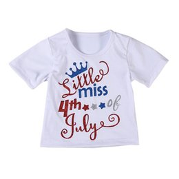 $enCountryForm.capitalKeyWord Australia - Baby Girl Short Skirt Kids Letter Tops Girl Fold TUTU Skirt American Flag Independence National Day USA 4th July Bow-Knot Round Neck