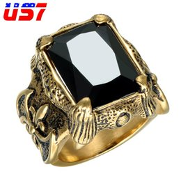 $enCountryForm.capitalKeyWord NZ - US7 Vintage Gold Color Men Jewelry With Crystal Stainless Steel With Big Black CZ Stone Punk Rock Rings For Men Jewelry Anel