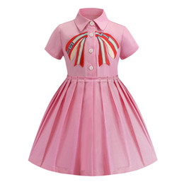 BaBy pink Ball gowns online shopping - Retail baby girl dresses embroidered lapel short sleeve cotton pleated skirt dress kids designer clothes children boutique clothing