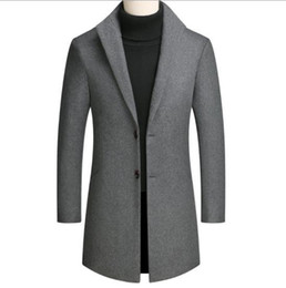 Wholesale Mens Autumn Designer Trench Coats Solid Color Lapel Neck Long Sleeve Plus Size Homme Clothing Casual Apparel