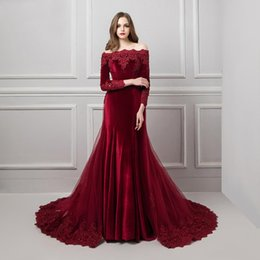 Boat Neck Collar Jacket Australia - Burgundy Off-Shoulder Lace Evening Dresses 2019 Beaded Appliques Boat Neck Long Sleeve Romovable Skirt Prom Dress Party Gown Rated