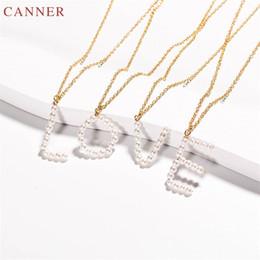 $enCountryForm.capitalKeyWord Australia - Pearl Necklace Gold Color Initial Necklace Women A-Z 26 Alphabet Letter Necklaces Pendants Name Jewelry Collier Femme C45