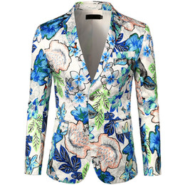 slim fit luxury suits 2019 - Loldeal Men's Luxury Casual Dress Floral Suit Notched Lapel Slim Fit Stylish Blazer Jacket Party Coats Stylish Coat