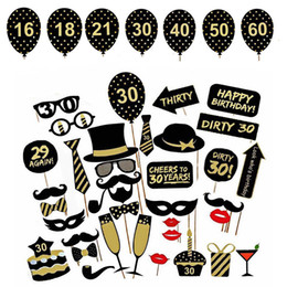 $enCountryForm.capitalKeyWord NZ - 36pcs set 16 18 21st 30 40 50 60th Gentlemen Hat Mustache Sticks Funny Photo Booth Props Birthday Party DIY Favor Decoration